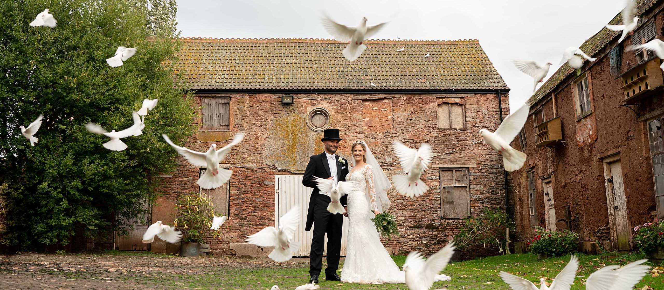 Maunsel House Wedding Photographer - Doves talking flight