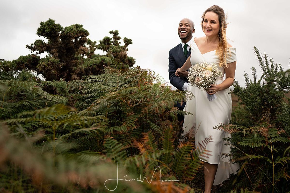Newlyweds Walking through bracken