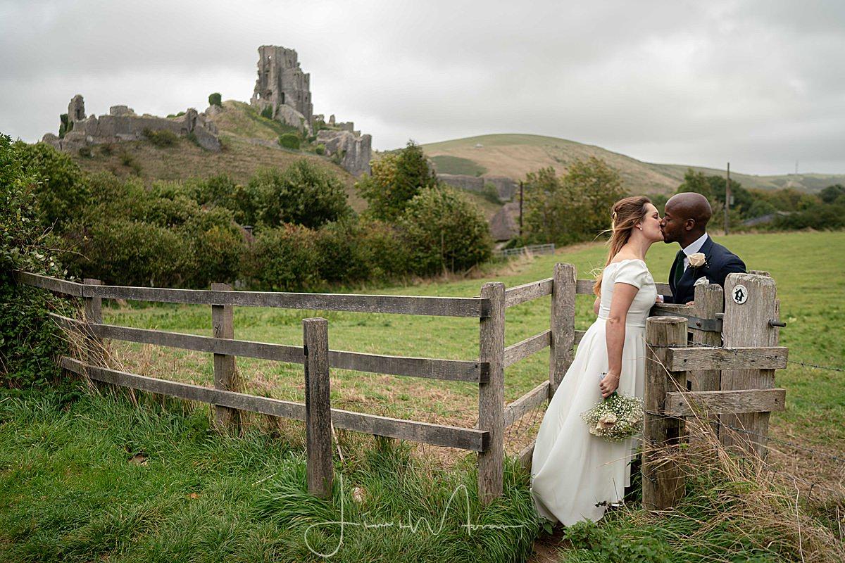 Corfe Castle Bride & Groom