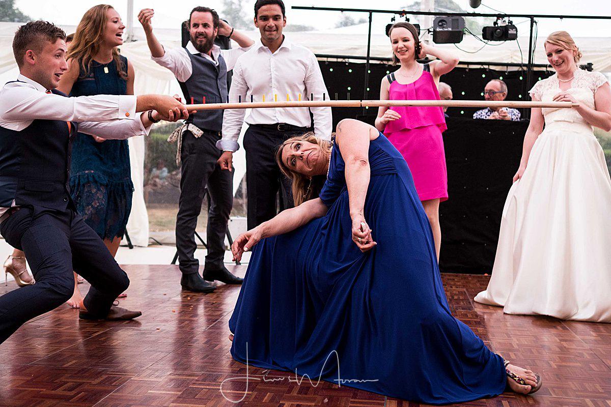 Limbo challenge on the dance floor