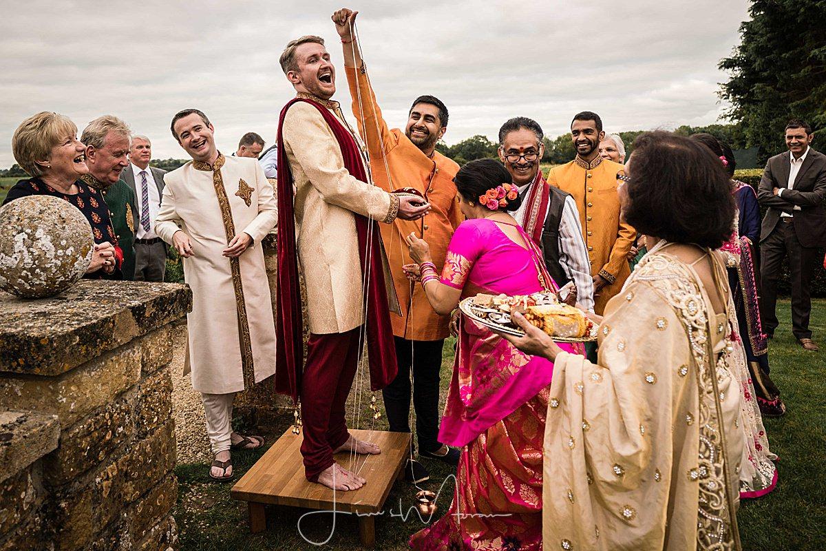 Groom at Hindu wedding ceremony