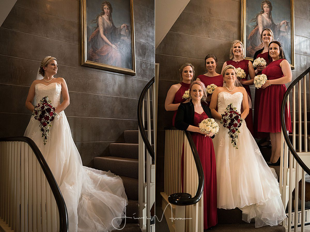 Bride and Bridesmaids on staircase at Axnoller