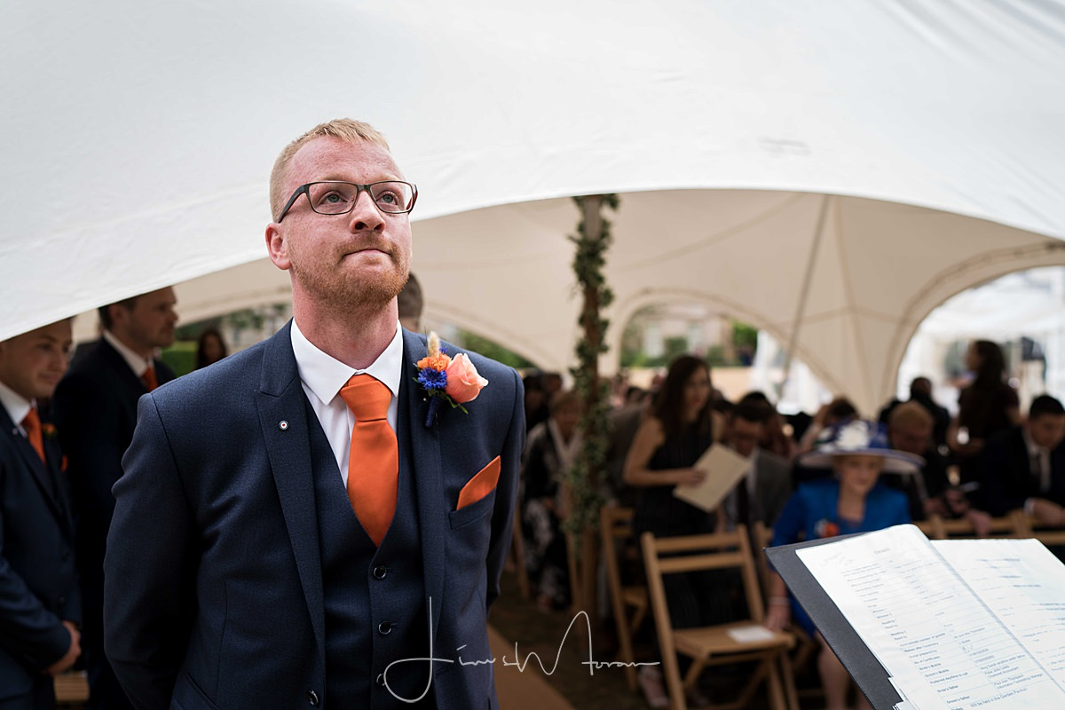 Groom awaiting bridal entrance