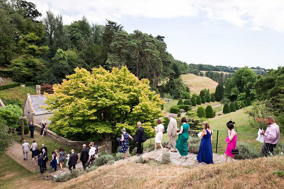 Guests walking into the gardens