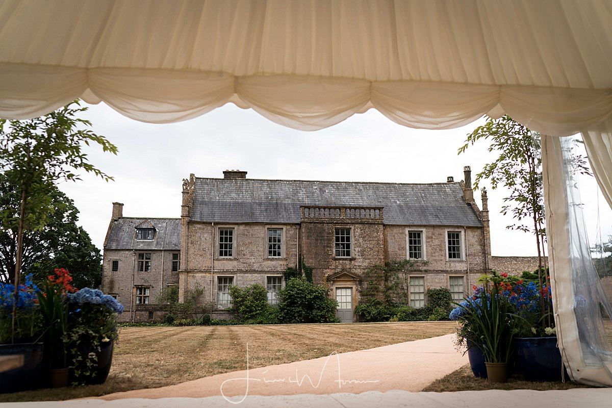 Mapperton House viewed through marquee entrance
