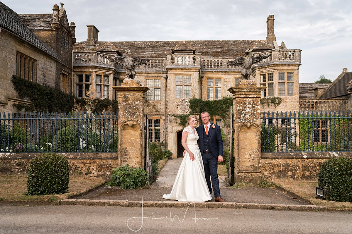 Bride & Groom portraits at front of Mapperton