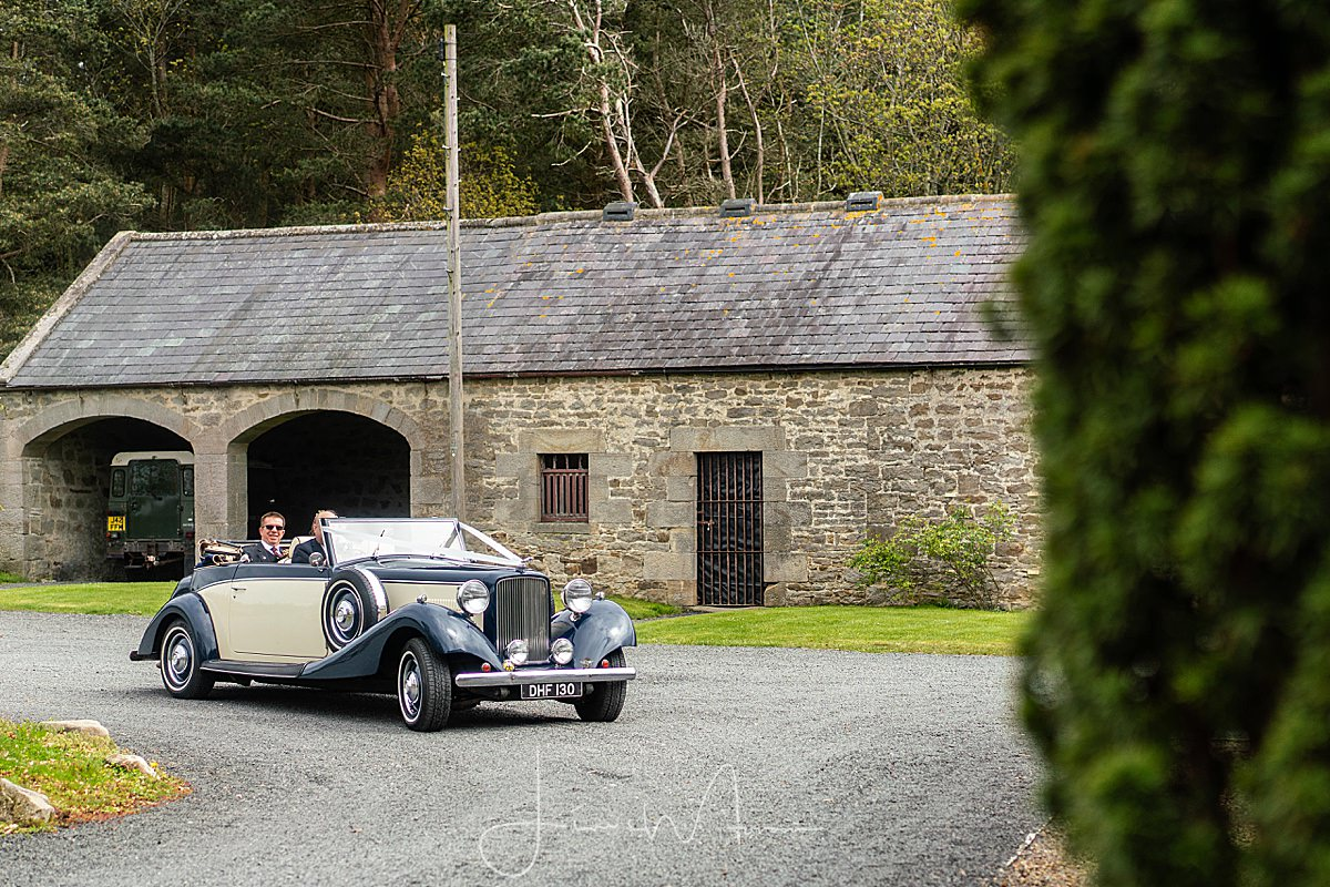 Bride arrives at Healey Barn