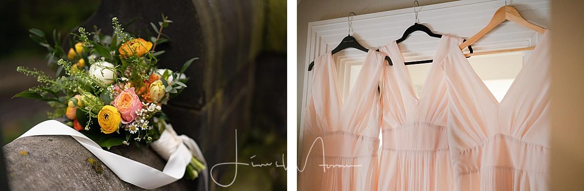 Bridesmaids dresses & bouquets